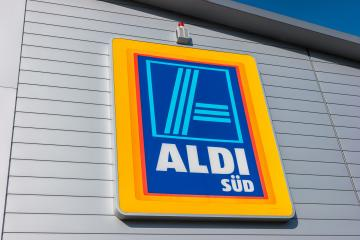 AACHEN, GERMANY FEBRUARY, 2017: Aldi sign (south division) against blue sky. Aldi is a leading global discount supermarket chain with almost 10,000 stores in 18 countries. : Stock Photo or Stock Video Download rcfotostock photos, images and assets rcfotostock | RC-Photo-Stock.: