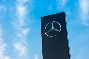 AACHEN, GERMANY FEBRUARY, 2017: Mercedes Benz Logo with cloudy sky. Founded in 1926 is a German luxury automobile manufacturer, a multinational division of the German manufacturer Daimler AG.- Stock Photo or Stock Video of rcfotostock | RC-Photo-Stock