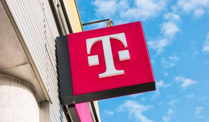 AACHEN, GERMANY FEBRUARY, 2017: New Logo of Deutsche Telekom on a shop. There are around 750 so called
