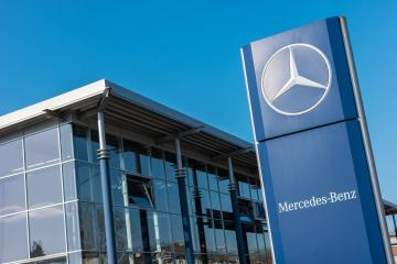 AACHEN, GERMANY FEBRUARY, 2017: Office of official dealer Mercedes-Benz. Mercedes-Benz is a German automobile manufacturer. - Stock Photo or Stock Video of rcfotostock | RC-Photo-Stock