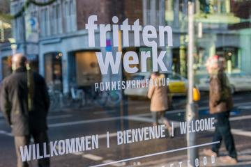 AACHEN, GERMANY JANUARY, 2017: Close up of Frittenwerk logo in the city of Aachen. Frittenwerk is a German fries Manufacture company of fast food restaurants in NRW Germany.- Stock Photo or Stock Video of rcfotostock | RC-Photo-Stock