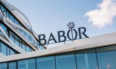 AACHEN, GERMANY JULY 2019: Logo of BABOR on the entrance to the company's main headquarters located in Aachen. Individual beauty and perfection. - Stock Photo or Stock Video of rcfotostock | RC-Photo-Stock