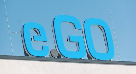 AACHEN, GERMANY JULY 2019: Logo of e.GO Mobile on the entrance to the company's main headquarters located in Aachen. e.Go designs and manufactures new electric cars.- Stock Photo or Stock Video of rcfotostock | RC-Photo-Stock