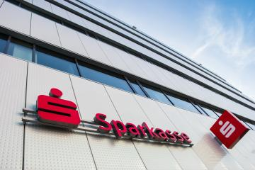 AACHEN, GERMANY MARCH, 2017: Logo of a the German Sparkasse (Savings Bank). Based on OECD studies, the German public banking system had a share of 40% of total banking assets in Germany.- Stock Photo or Stock Video of rcfotostock | RC-Photo-Stock