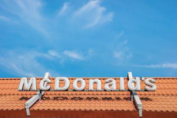 AACHEN, GERMANY MARCH, 2017: McDonald's restauraunt sign. The McDonald's Corporation is the world's largest chain of hamburger fast food restaurants.- Stock Photo or Stock Video of rcfotostock | RC-Photo-Stock