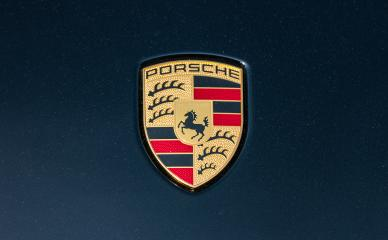 AACHEN, GERMANY MARCH, 2017: Porsche Sign Close Up on a black car. Ferdinand Porsche founded the company in 1931 with main offices in the centre of Stuttgart.- Stock Photo or Stock Video of rcfotostock | RC-Photo-Stock