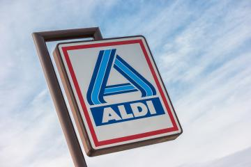 AACHEN, GERMANY OCTOBER, 2017: Aldi sign (north division) against blue sky. The German-based discount supermarket chain currently operates over 10,000 stores in 18 countries.- Stock Photo or Stock Video of rcfotostock | RC-Photo-Stock