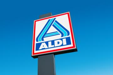 AACHEN, GERMANY OCTOBER, 2017: Aldi sign (north division) against blue sky. Aldi is a leading global discount supermarket chain with almost 10,000 stores in 18 countries.- Stock Photo or Stock Video of rcfotostock | RC-Photo-Stock