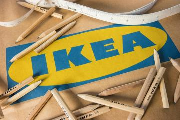 AACHEN, GERMANY OCTOBER, 2017: IKEA pencils placed and tape measure on a IKEA paper bag. IKEA Founded in Sweden in 1943, Ikea is the world's largest furniture retailer.- Stock Photo or Stock Video of rcfotostock   RC-Photo-Stock