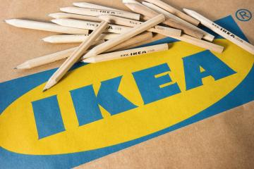 AACHEN, GERMANY OCTOBER, 2017: IKEA pencils placed on a IKEA paper bag. IKEA Founded in Sweden in 1943, Ikea is the world's largest furniture retailer.- Stock Photo or Stock Video of rcfotostock   RC-Photo-Stock
