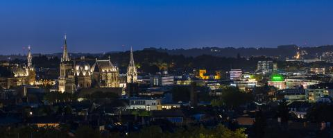 Aachen nigth cityscape with cathedra- Stock Photo or Stock Video of rcfotostock | RC-Photo-Stock