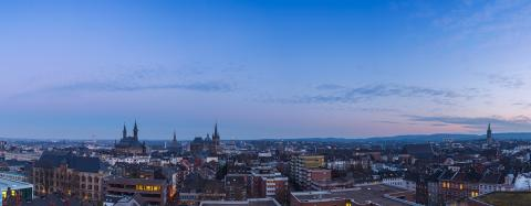 Aachen Panorama at blue hour sunset : Stock Photo or Stock Video Download rcfotostock photos, images and assets rcfotostock | RC-Photo-Stock.: