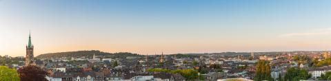 Aachen skyline panorama at sunset- Stock Photo or Stock Video of rcfotostock | RC-Photo-Stock