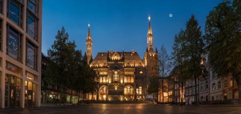 aachen town hall at night panorama, germany : Stock Photo or Stock Video Download rcfotostock photos, images and assets rcfotostock | RC-Photo-Stock.: