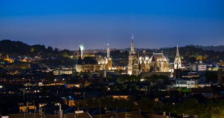 Aachen view at night with fireworks- Stock Photo or Stock Video of rcfotostock | RC-Photo-Stock