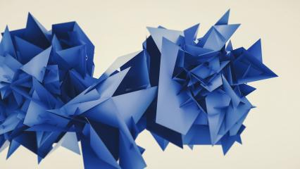 Abstract 3d rendering of chaotic Flying blue polygonal triangles, futuristic background poster design : Stock Photo or Stock Video Download rcfotostock photos, images and assets rcfotostock | RC-Photo-Stock.: