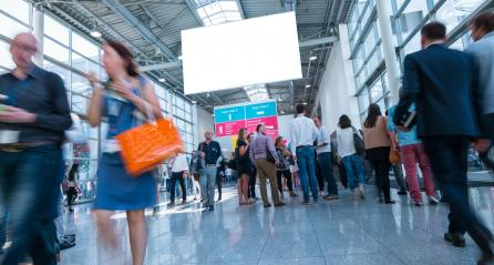 Abstract Image of Business People Walking on a tradefair- Stock Photo or Stock Video of rcfotostock | RC-Photo-Stock