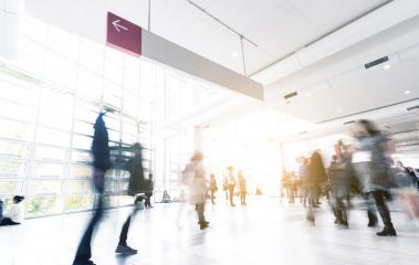 Abstract Image of Business People Walking trade fair- Stock Photo or Stock Video of rcfotostock | RC-Photo-Stock