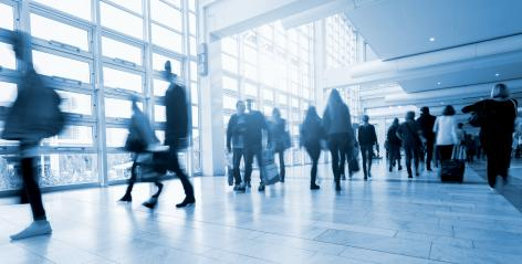 Abstract Image of People Walking at a traid fair floor- Stock Photo or Stock Video of rcfotostock | RC-Photo-Stock