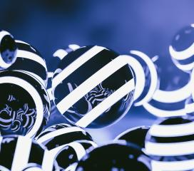 Abstract striped Glowing Balls in dark space : Stock Photo or Stock Video Download rcfotostock photos, images and assets rcfotostock | RC-Photo-Stock.: