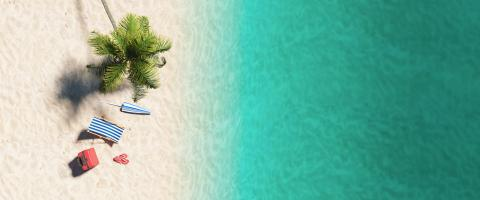 Aerial top view  of sandy beach and ocean and beach chair flip-flop sandals, umbrella and suit case under a palm tree at the beach during a summer vacation in the Caribbean- Stock Photo or Stock Video of rcfotostock | RC-Photo-Stock