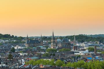 aerial view of Aachen (aix-la-chapelle) at sunset- Stock Photo or Stock Video of rcfotostock | RC-Photo-Stock