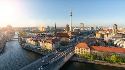 Aerial view of Berlin skyline and Spree river in beautiful evening light at sunset in summer, Germany- Stock Photo or Stock Video of rcfotostock | RC-Photo-Stock