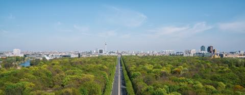 Aerial view of Berlin skyline panorama with Grosser Tiergarten public park on a sunny day with blue sky and clouds in summer seen from Berlin Victory Column (Berliner Siegessaeule), Germany : Stock Photo or Stock Video Download rcfotostock photos, images and assets rcfotostock | RC-Photo-Stock.: