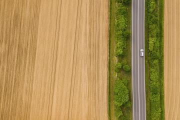 Aerial view of car moving on the road. Road traffic concept background. including copy space- Stock Photo or Stock Video of rcfotostock | RC-Photo-Stock