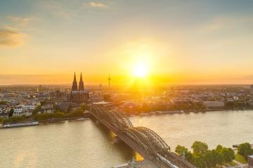 aerial view of Cologne at dusk in summer- Stock Photo or Stock Video of rcfotostock | RC-Photo-Stock