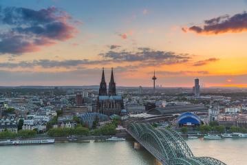Aerial view of Cologne at sunset- Stock Photo or Stock Video of rcfotostock | RC-Photo-Stock