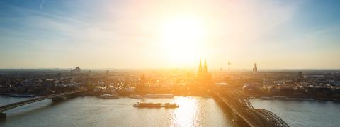 Aerial view of cologne city at dusk- Stock Photo or Stock Video of rcfotostock | RC-Photo-Stock