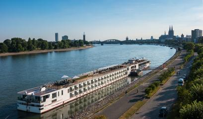 Aerial view of Cologne over the Rhine River with cruise ship in Cologne - Stock Photo or Stock Video of rcfotostock | RC-Photo-Stock