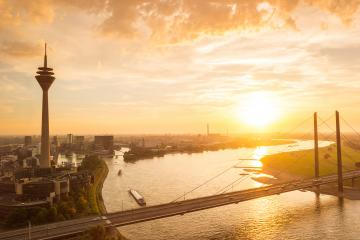 aerial view of dusseldorf at sunset with the Rheinknie Bridge- Stock Photo or Stock Video of rcfotostock | RC-Photo-Stock