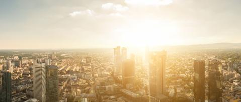 Aerial view of Frankfurt am Main skyline at dusk- Stock Photo or Stock Video of rcfotostock | RC-Photo-Stock