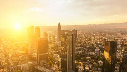aerial view of Frankfurt am main skyscrapers at sunset- Stock Photo or Stock Video of rcfotostock | RC-Photo-Stock