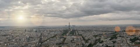 Aerial view of Paris at sunset- Stock Photo or Stock Video of rcfotostock | RC-Photo-Stock