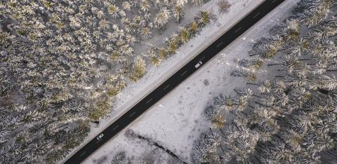Aerial view of snowy forest with a road and car. Captured from above with a drone  : Stock Photo or Stock Video Download rcfotostock photos, images and assets rcfotostock | RC-Photo-Stock.: