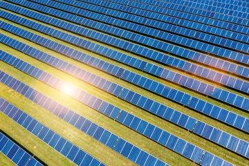 Aerial view of solar panels field, photovoltaic, alternative electricity - Stock Photo or Stock Video of rcfotostock | RC-Photo-Stock