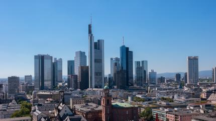 Aerial view of the financial district Sykline in Frankfurt- Stock Photo or Stock Video of rcfotostock | RC-Photo-Stock