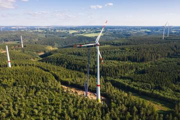Aerial view of wind turbines or a wind farm under construction - Stock Photo or Stock Video of rcfotostock | RC-Photo-Stock
