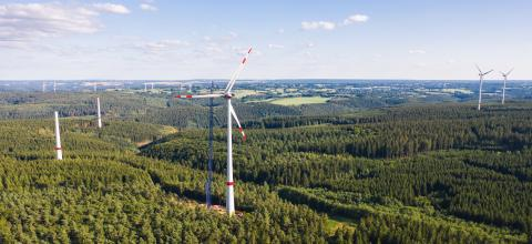 Aerial view of wind turbines under construction - Stock Photo or Stock Video of rcfotostock | RC-Photo-Stock