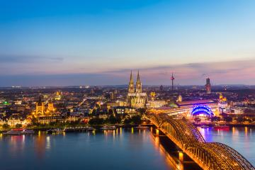 Aerial view on Cologne at dusk sunset- Stock Photo or Stock Video of rcfotostock   RC-Photo-Stock