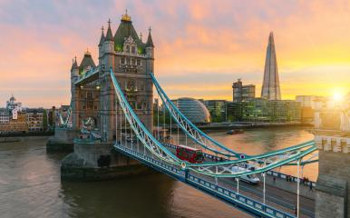 Aerial view to the illuminated Tower Bridge and skyline of London, UK, just after sunset : Stock Photo or Stock Video Download rcfotostock photos, images and assets rcfotostock | RC-Photo-Stock.: