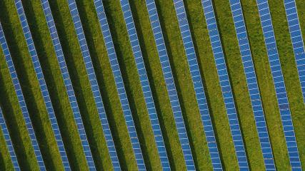 aerial view with solar cell farm at Germany- Stock Photo or Stock Video of rcfotostock | RC-Photo-Stock