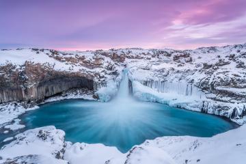 Aldeyjarfoss im Winter mit pinkem Himmel, Island : Stock Photo or Stock Video Download rcfotostock photos, images and assets rcfotostock | RC-Photo-Stock.: