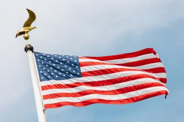 American flag with Bald Eagle - symbol of america - against blue sky. United States of America patriotic symbols- Stock Photo or Stock Video of rcfotostock | RC-Photo-Stock
