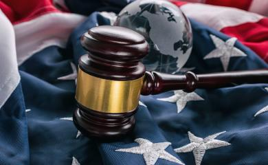 American law gavel with glass globe on the usa flag- Stock Photo or Stock Video of rcfotostock | RC-Photo-Stock