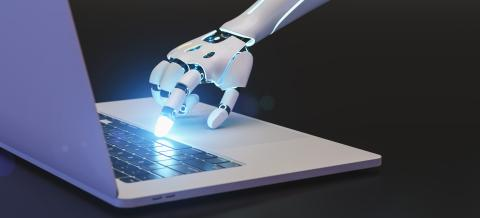 and of a ai or KI robot is using the keyboard of an computer or laptop - Stock Photo or Stock Video of rcfotostock | RC-Photo-Stock