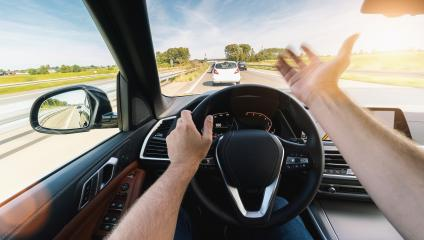 angry car driver on steering wheel,  road trip, driving on highway road- Stock Photo or Stock Video of rcfotostock | RC-Photo-Stock